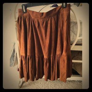 Vintage Ralph Lauren Brown Suede Skirt
